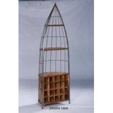 Prateleira de livro de estilo vintage com madeira e metal