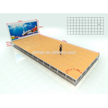 Venta de la fábrica servicio personalizado soporte de exhibición al aire libre del diseño del braguero de la etapa de aluminio