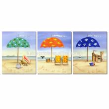 Arte colorida da lona do cenário da praia / 3 painel Seascape Canvas Prints / Home Decor Fotos da parede da paisagem