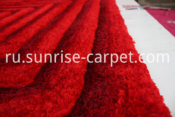 Microfiber Rug 3D Shaggy with Red Color