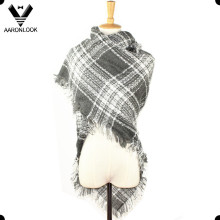 Ladies Winter Acrylic Fringe Edge Woven Knit Square Scarf