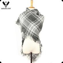 Ladies invierno acrílico franja borde tejido tejido punto bufanda
