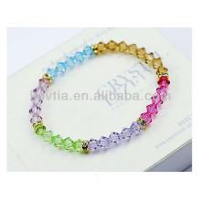2014 populares cristal multicolor transparente frisado pulseiras