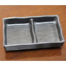 Prato de utensílios de mesa de melamina preta samll (cp-043)