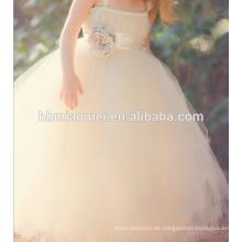 Ballkleid-Blumenmädchenkleid des Champagners in voller Länge für Partei und Hochzeit