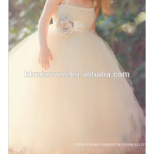 Champagne full-length ball gown flower girl dress for party and wedding