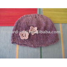 Cashmere Hat with crochet flowers