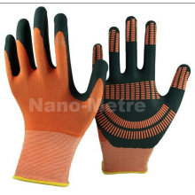NMSAFETY orange micro foam nitrile gloves with grip dots