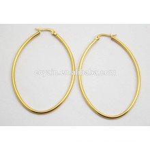 18K ouro chapeamento 316L em aço inoxidável oval pequenos brincos loop barato