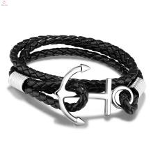 Personalidade Handmade Aço Inoxidável Weave Twine Leather Anchor Bracelet