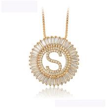 34441wholesale xuping Art- und Weisehalskette 18K Goldfarbe Buchstabe S luxuriöse Halskette