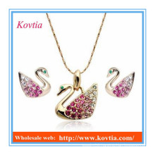 Cheap wholesal jewelry set beautiful swan necklace and earring set