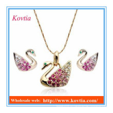 Conjunto de jóias atacado barata bonito colar de cisne e conjunto de brinco