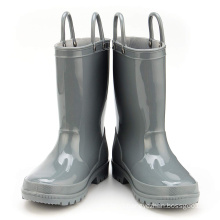 Kids New Fashion Grey Color Waterproof Nature Material  Rain Boots Easy-on Handles Shoes