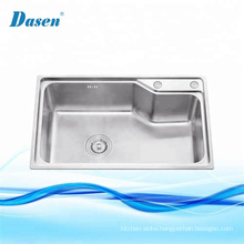 Stainless steel polygon single bowl kitchen sink with two holes