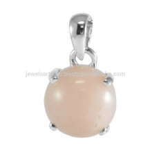 Lovely Pink Opal Gemstone com 925 Sterling Silver Prom Set Round Shape Charming Pendant