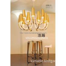Golden lampshade decorative chandelier modern for sitting room