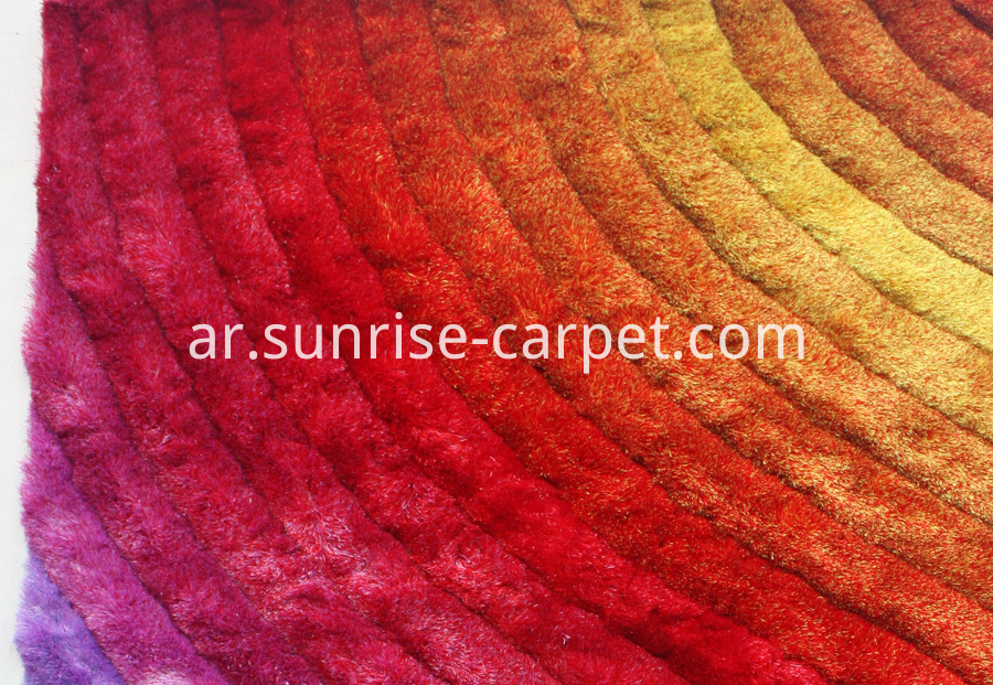 Polyester Silk Shaggy 3D Multi Color Rug