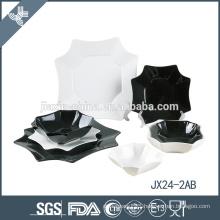 JX24-2AB 24pcs porcelain square dinner set, plate set, red and black mix color set