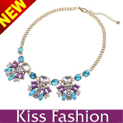 Wholesale Fashion Accessory 2014 Plated Jewelry, Multi Color and Latest New Stylish Crystal Statement Necklace (EN0067B)