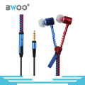 Fashion Mix Color Zipper Headset Handsfree for Mobile Phone