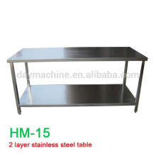 2015 commercial stainless steel work table with top shelf, all kinds stainless steel kitchen table,hot sale stainless steel tabl