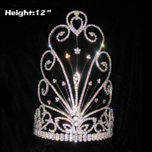 12inch Hot Selling Crystal Mask Pageant Crowns