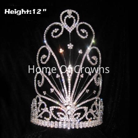 Coronas de desfile de máscara de cristal de venta caliente de 12 pulgadas