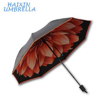 Schwarzer Gummi-Regenschirm Little Daisy Artdesign Digital drei Taschenschirm Made in Xiamen Factory