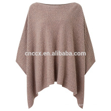 PK17ST127 Cable Knit Wolle Poncho Pullover