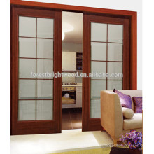 Vidrio madera interior doble puerta corredera con vidrio para ventanas, puertas corredizas de cocina sala