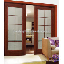 Interior Wooden Glass Double Sliding Door With Window Glass, Kitchen Room Sliding Door