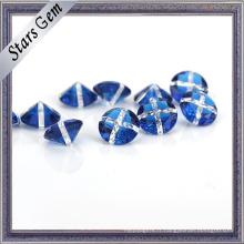 Bleu et blanc couleur mélangée ronde pierre précieuse pour les bijoux
