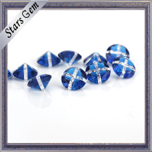 Blue and White Mixed Color Round Gemstone for Jewelry