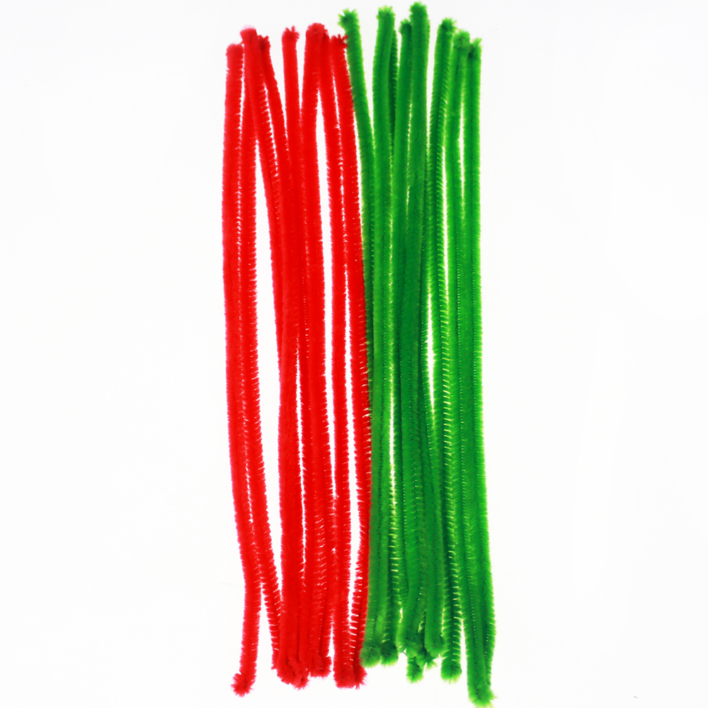 Christmas-colored chenille stems