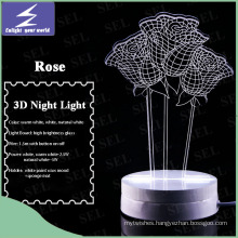 LED Valentine′s Gift Rose Flowers 3D Night Light for Home