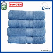 Ensembles de serviettes en coton satiné bleu ciel (QAES9908)