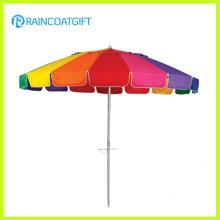 Parasol de playa al aire libre colorido del patio del arco iris de los 7ft