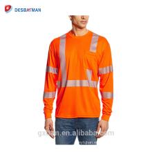 Clase 3 100% poliéster transpirable alta visibilidad reflectante camiseta de seguridad con manga larga y cuello redondo