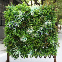 Decorative cheap artificial green wall with plastic leaves for garden
