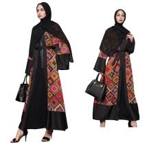 Mode Femmes Moyen modèles S-5 XL maxi bloc de couleur Plus la taille Porter Vêtements Islamiques Arabe Filles robe abaya