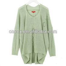 13STC5310 design de camisola longa de mulheres com decote em v