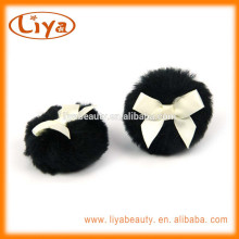 Personal care black BOA plush puff with custom ribbon