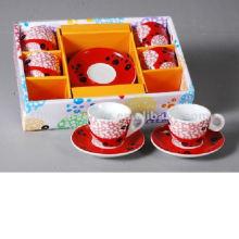 Fashion 90cc Ensemble de tasses et de soucoupes en porcelaine 6 en boîte cadeau pour BS120920C