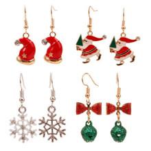 Christmas Tree Santa Claus Snowflake Snowman Wreath Lovely Earrings Women