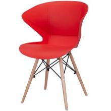 Современный пластиковый стул с деревянной ногой
