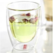 Tasse de voyage en verre de thé d'infuseur de cadeau de Pyrex de cadeau promotionnel avec la douille de silicone
