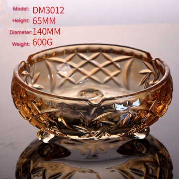 Amber glass ashtray round shape bamboo pattern