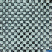 White & Black Glass Cracked Mosaic Fliesen