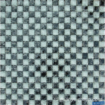 White& Black Glass Cracked Mosaic Tile